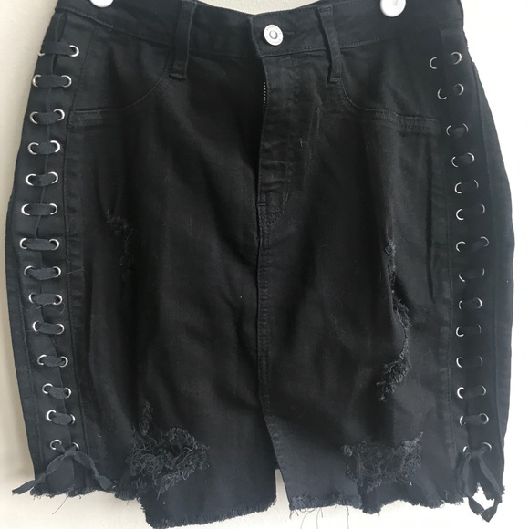 2c67b9b6be Hot Miami Styles Skirts | Side Lace Up Denim Skirt | Poshmark